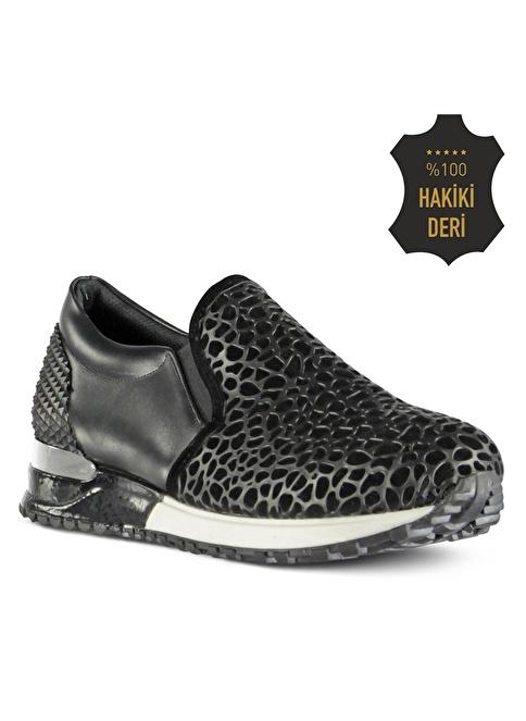 Marjin % 100 Deri Düz Ayakkabı Siyah